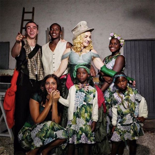 Madonna and her 6 kids during her birthday party in August 2017