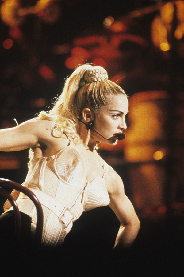 Madonna performs at the 1990 Blond Ambition Tour