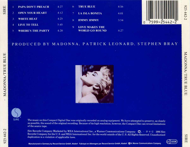True Blue Madonna Studio Album Steve Bray Patrick