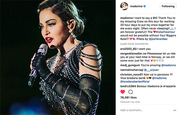 Madonna used several photos by Josh on her Instagram