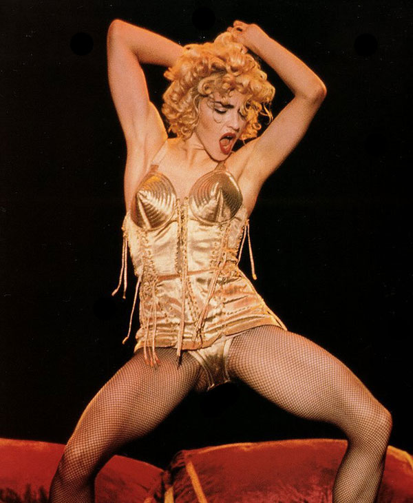 Madonna performs Like A Virgin at the 1990 Blond Ambition Tour