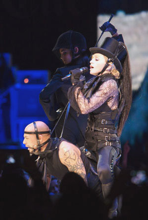 Madonna showing her love with horse riding on the Confessions Tour