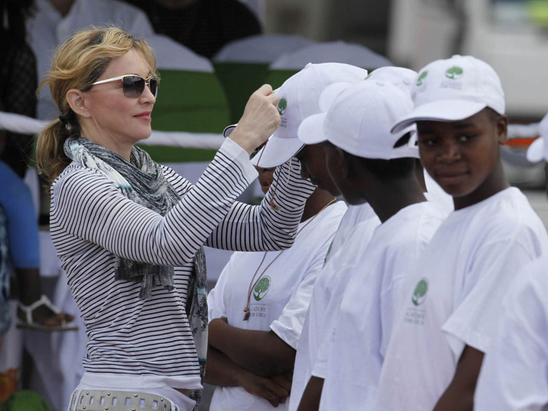 Madonna and school kids in Malawi